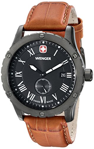 Wenger-Mens-71000-Amazon-Exclusive-Grenadier-Stainless-Steel-Watch-with-Brown-Leather-Band
