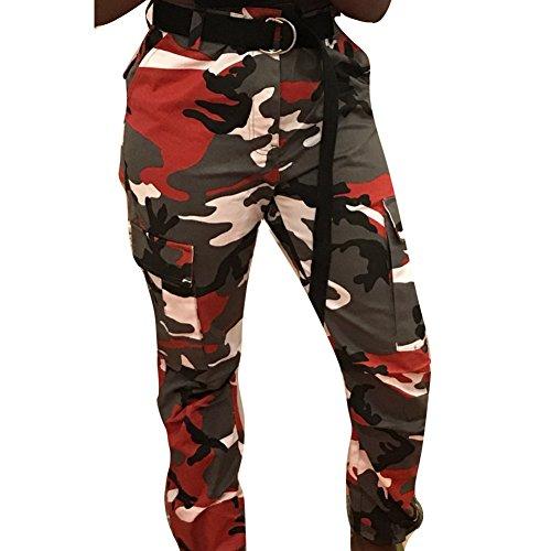 Cargo Per amp;nero Mimetici Pantaloni Rosso Sportivi Juleya Allentati Donna 1OA6q17f