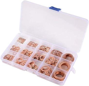 Guarnizione paraolio in rame da 300 pezzi Guarnizione tipo O Rondella in rame Kit assortimento