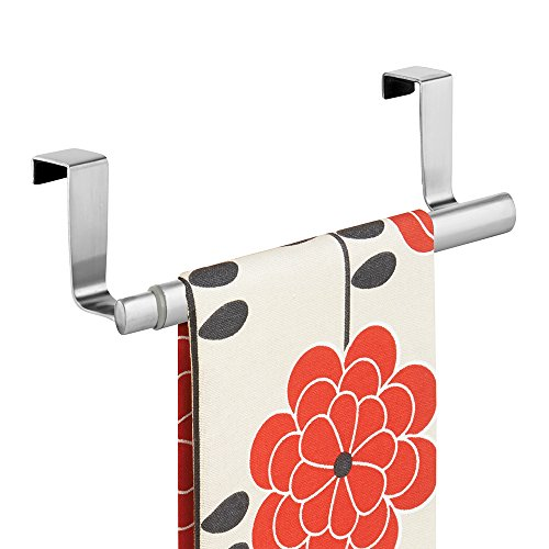 mDesign Adjustable, Expandable Kitchen Over Cabinet Towel Bar - Hang on Inside or Outside of Doors, Storage for Hand, Dish, Tea Towels - 9.25 to 17 Wide - Brushed Stainless Steel