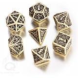 Q-Workshop Polyhedral 7-Die Set: Celtic 3D BEIGE & Black Dice Set!
