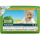 Seventh Generation Free and Clear Sensitive Skin Baby Diapers with Animal Prints, Size 2, 36 Count (Pack of 5)