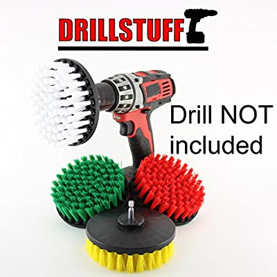 4 Piece Soft, Medium and Stiff Power Scrubbing Brush Drill Attachment for Cleaning Showers, Tubs, Bathrooms, Tile, Grout, Carpet, Tires, Boats by DrillStuff