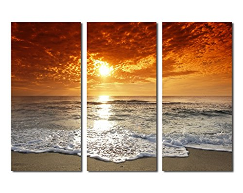 yearainn Canvas Wall Art Sunset Beach Waves Ocean Canvas Artwork Framed Ready to Hang, 5 Panels Sunset Photo Seascape Canvas Art for Home Decoration