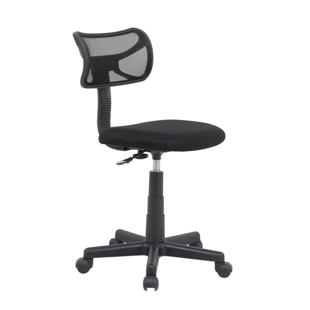ZHAN YI SHOP kontorsstol för barn, svängbar stol ergonomisk, arbetsstol utan armstöd, datorstol stol stol stol på underlägg med justerbar höjd (färg: svart) Svart