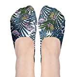 XYMNZGS Fashionable Flamingos Pineapples No Show Socks Women Ankle Socks Low Cut For Leisure