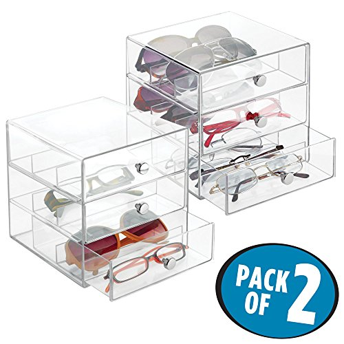 mDesign Stackable Eye Glass Storage Organizer Box with 3 Drawers for Sunglasses, Reading Glasses, Accessories - 3 Sections in Each Level, Pack of 2, Clear with Chrome Pulls