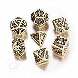 Q-Workshop Polyhedral 7-Die Set: Celtic 3D BIEGE & Black Dice Set!