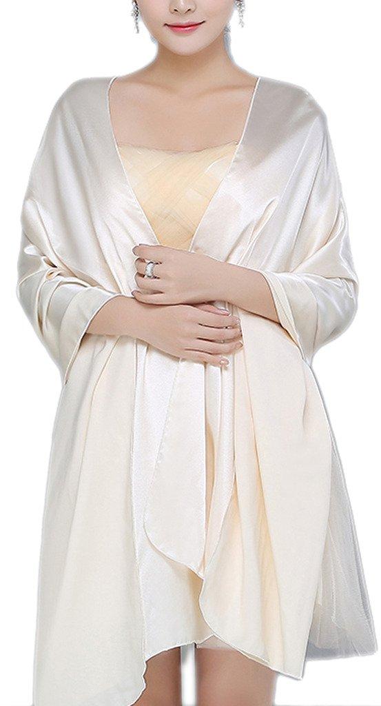 Alivila.Y Fashion Womens Satin Bridal Evening Scarf Shawl-Champagne Satin