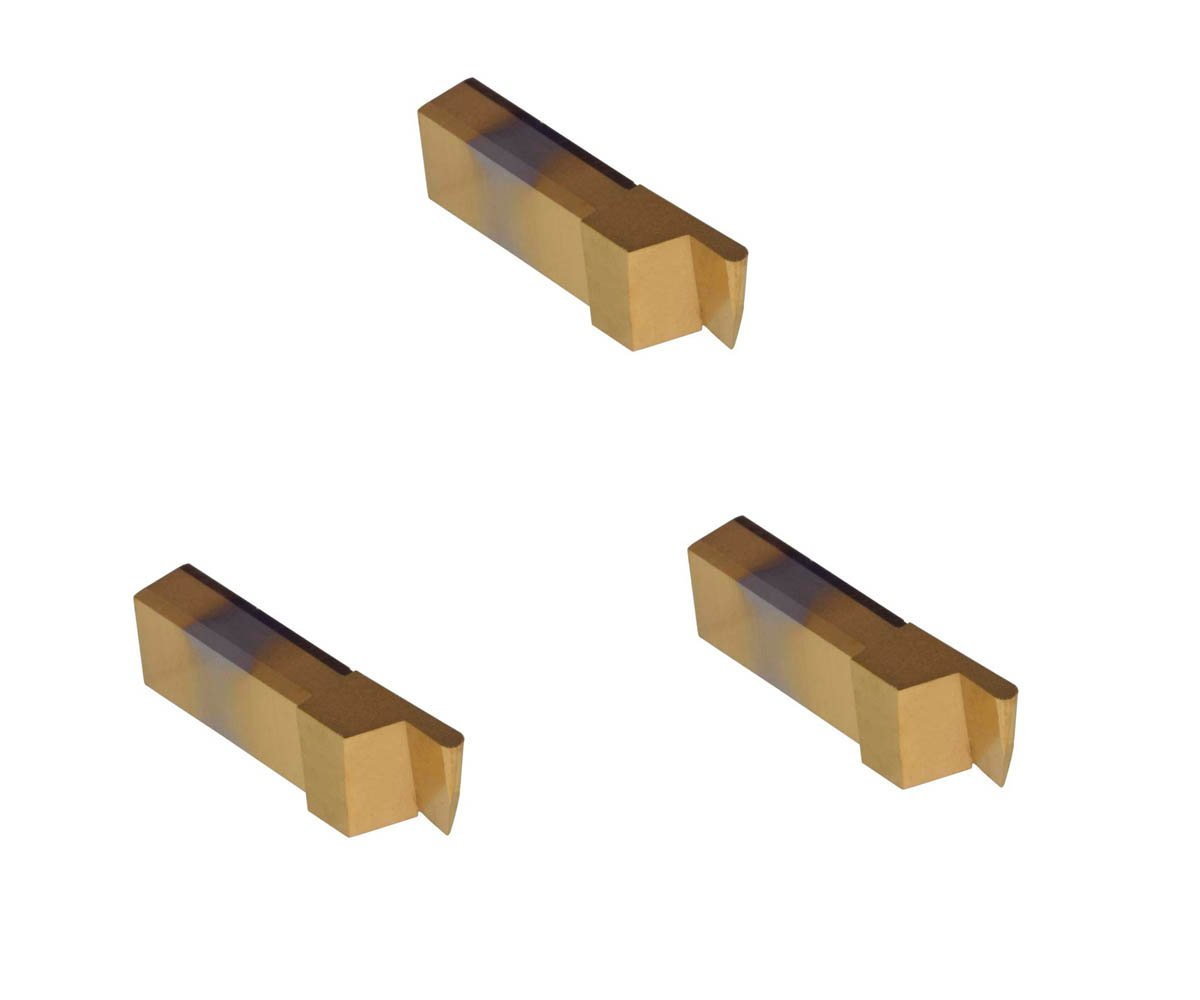 TiCN Coated Carbide and Cast Iron Without Interrupted Cuts THINBIT 3 Pack SGI048D5FRD 0.048 Width 0.100 Depth Brass Full Radius Grooving Insert for Aluminum