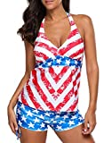 LOSRLY Women Halter Deep V Neck Printed Tankini Top With Shorts Plus Size Swimsuit S 2 4