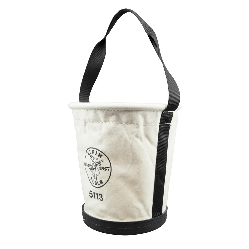Canvas Bucket for Tool Storage and Transport is Tapered, Canvas with Web Handle, Made in USA Klein Tools 5113