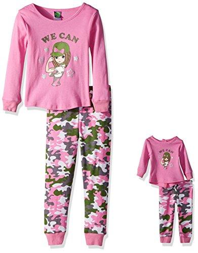 Dollie & Me Girls' Big Snugfit Sleep Set, Pink/Green, 7 (18 Inch Doll Green Clothes)