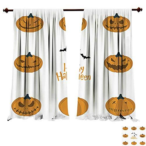 Panels Sun Blocking Curtains Halloween Pumpkin Carving Set Happy Halloween Typography Vector Insulated Window -