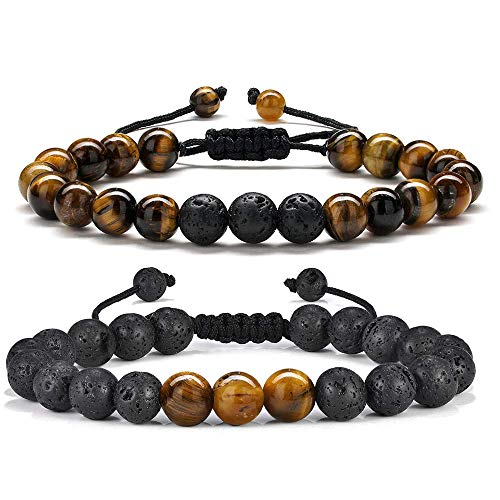Tiger Eye Women Mens Bracelet - 8mm Tiger Eye Lava Rock Stone Mens Anxiety Bracelets, Stress Relief Yoga Beads Adjustable Tiger Eye Bracelet Aromatherapy Essential Oil Diffuser Lava Bracelet for Women