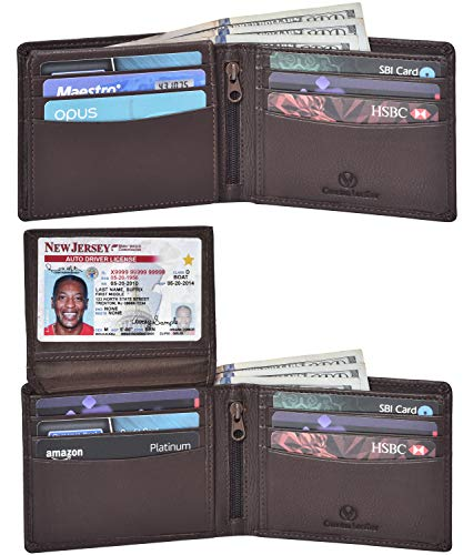 Valenchi - RFID Genuine Leather Bifold Wallet with Flap for Men and Women with multi card slots, 2 Note pocket coin pocket and ID window (Brown Nappa) (Coin Purse Leather)