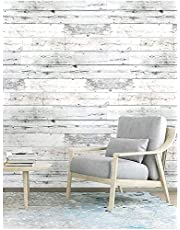 Peel and Stick Self-Adhesive Removable Contact Wallpaper, Shiplap Light Grey/White Distressed Wood Plank,Decorative Waterproof Wallpaper and Shelf Liner Wall Stickers,Home Decaration 17.7''x118.1''