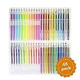 #7: Original Stationery Metallic, Glitter, Neon and WaterChalk Gel Pens with Intricate Detail Nib (Set of 48)