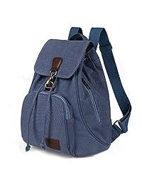 Women Girls Multifunctional Canvas Backpack Drawstring Rucksack Travel Shoulder Bag