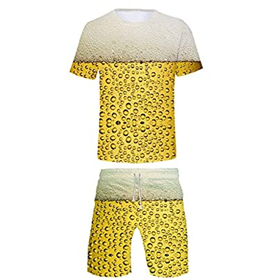 Holzkary Men's Beer Festival 3D Printed T-Shirt Comfort Short Sleeve Tops/Suits