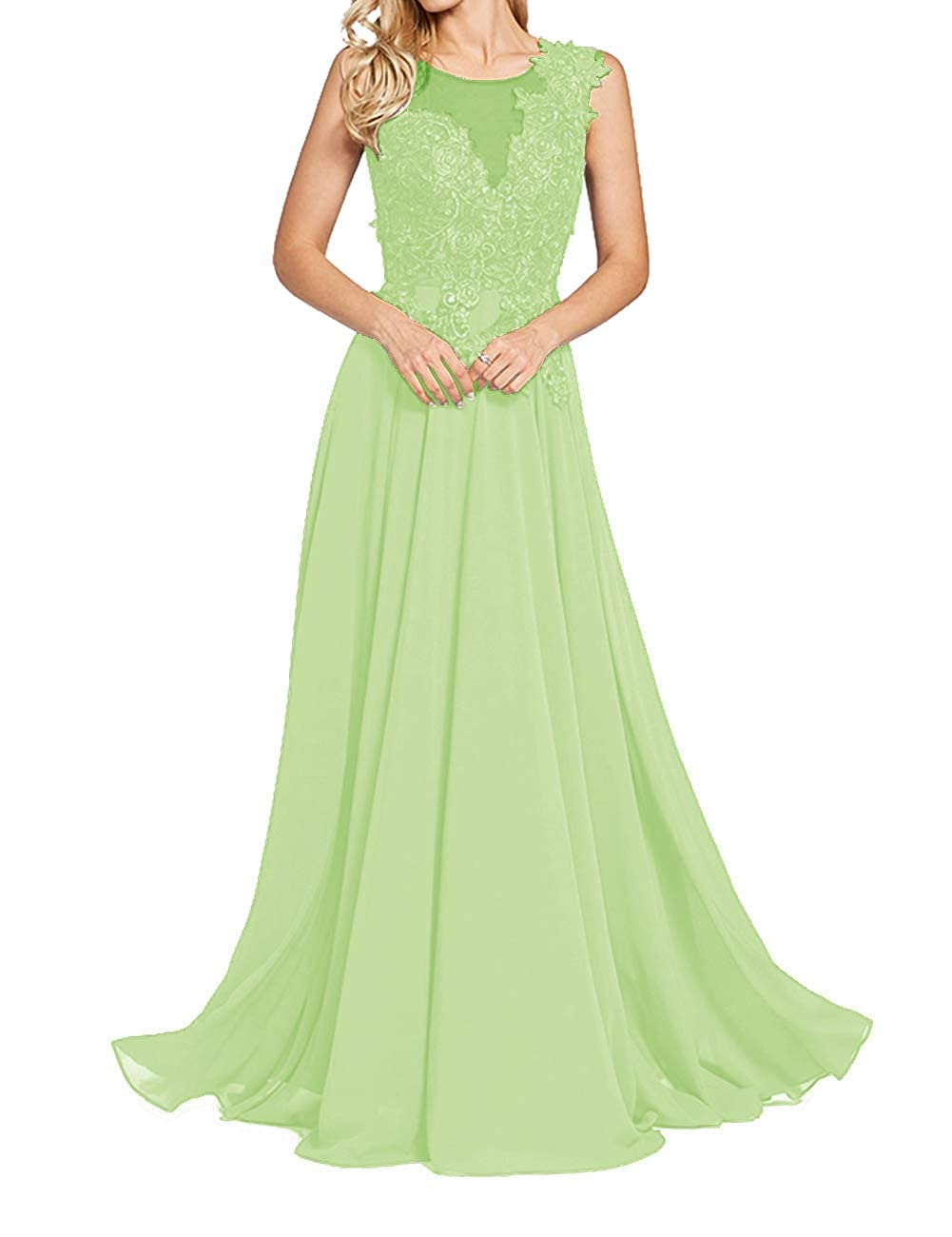 Sage Green Uther Formal Evening Prom Dresses Long Appliques Bridesmaid Dress for Women Sleeveless