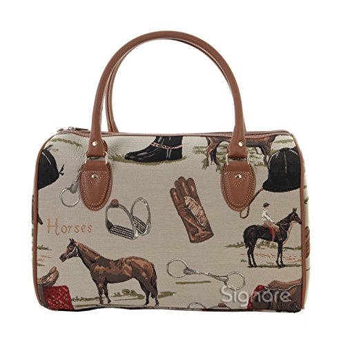 Horse Tote Bag - Signare Tapestry Women Canvas Travel Duffel Weekender Bag Hand Luggage Overnight Bag with in Horse Design (TRAV-HOR)
