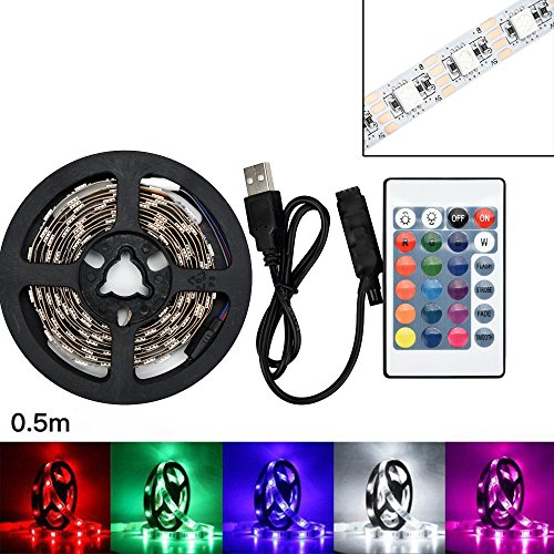Halloween Hot Sale!!!Kacowpper 50-200CM USB LED Strip Light TV Back Lamp 5050RGB Colour Changing+Remote Control
