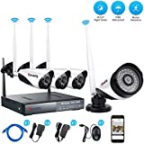 CANAVIS 4CH Wireless Outdoor Security Cameras 1280X720 1.0MP CCTV Wifi Surveillance System without HDD, Phone PC Remote View Night Vision