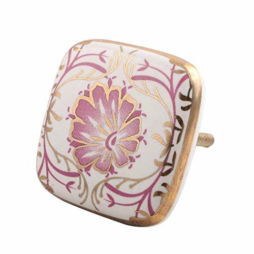 Indianshelf Handmade 10 Piece Flower Ceramic Multicolor Wardrobe Pulls Rust Free Artistic Square Flat Decorated Dresser Knobs ()