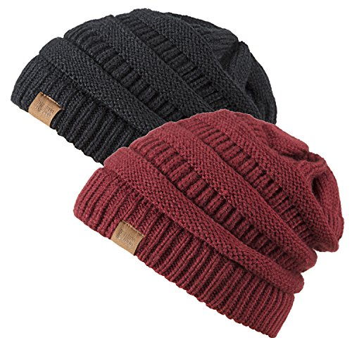Slouchy Beanie Hat for Men and Women 2 Pack Winter Warm Chunky Soft Oversized Cable Knit Cap by REDESS (Two Pack Black & Wine (Reversible Womens Beanie)