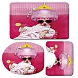 3 Piece Bath Mat Rug Set,Funny,Bathroom Non-Slip Floor Mat,Chihuahua-Dog-Relaxing-and-Lying-in-Wellness-Spa-Fashion-Puppy-Comic-Print-Decorative,Pedestal Rug + Lid Toilet Cover + Bath Mat,Magenta-Baby