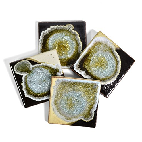 Dock 6 Pottery Coasters with Fused Glass, Toasted Marshmallow, Set of 4 from Dock 6 Pottery
