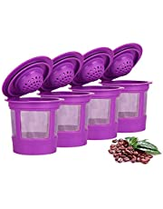 Reusable Refillable Coffee Filters For Keurig Family 2.0 and 1.0 Brewers Fits K200, K300/K350, K400/K450/K460, K500/K550/K560 (Purple, 4)