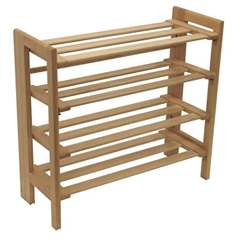Great Winsome Wood Foldable 4 Tier Shoe Rack, Natural