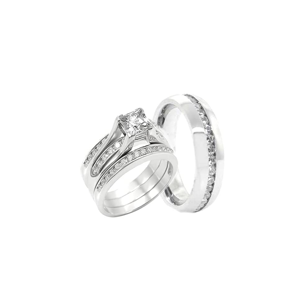 His & Hers 4 Pc, Womens STERLING SILVER, Men's STAINLESS STEEL Engagement Wedding Rings Set, AVAILABLE SIZES men's 7,8,9,10,11,12,13; women's set 5,6,7,8,9,10. CONTACT US BY EMAIL THROUGH  WITH SIZES AFTER PURCHASE Jewelry