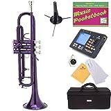 Mendini MTT-PL Purple Lacquer Brass Bb Trumpet + Tuner, Case, Stand, Mouthpiece, Pocketbook & More