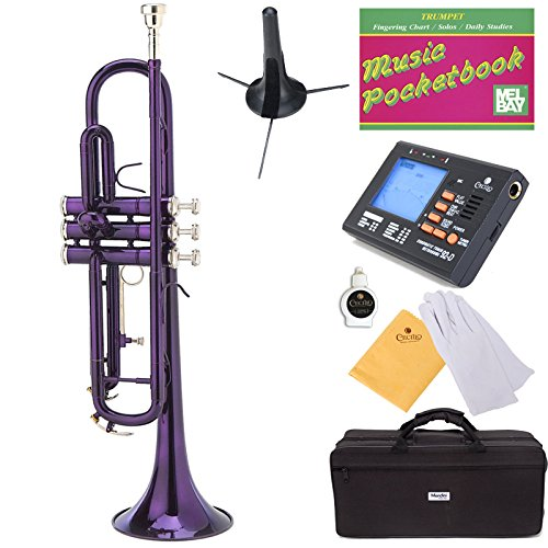 Mendini MTT-PL Purple Lacquer Brass Bb Trumpet + Tuner, Case, Stand, Mouthpiece, Pocketbook & More by Mendini by Cecilio (Image #7)