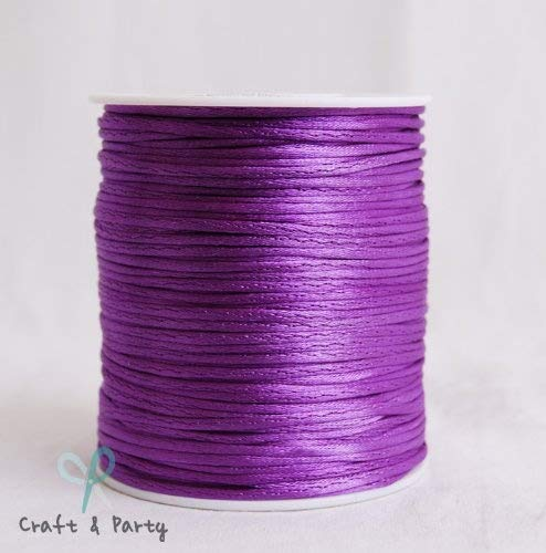 Purple 2mm x 100 yards Rattail Satin Nylon Trim Cord Chinese Knot