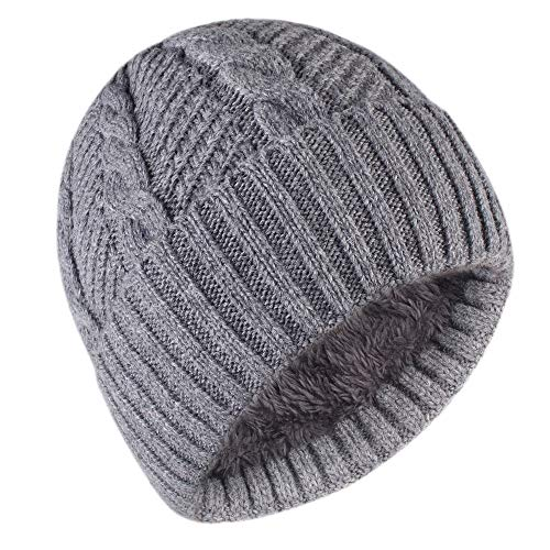 (Camptrace Winter Men Beanie Skull Caps Wool Knit and Cuffed Fleece Lining Hat Grey)