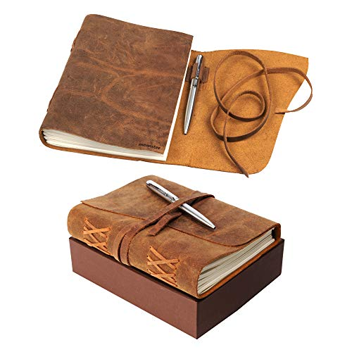 Leather Journal Notebook Gift Set with Luxury Pen - Handmade Genuine Water Buffalo Leather Travel Journal with Unique Hand-Stitched Coptic Leather Binding - Premium Recycled Acid-Free Cotton Paper