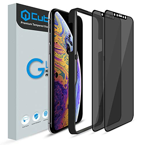 iPhone Xs Max Screen Protector, [2 Pack] Cubevit iPhone Xs Max Privacy Tempered Glass Screen Protector, [Easy Install] [Bubble Free] Anti Spy Glass Screen Protector for iPhone Xs Max (Black)