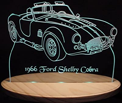 1966 Shelby Cobra Acrylic Lighted Edge Lit LED Sign / Light Up Plaque 66 VVD3