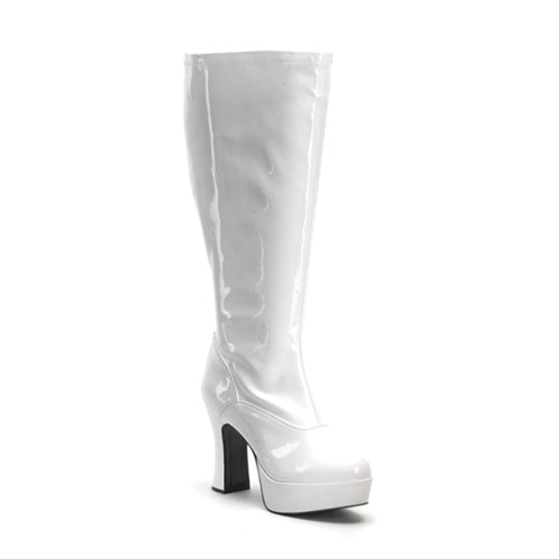 White Wide Calf Chunky Heel Go Go Boots Patent Chezi XHI