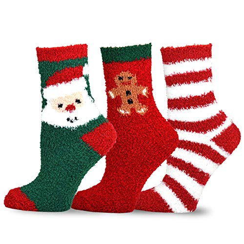 TeeHee Christmas Holiday Cozy Fuzzy Crew Socks 3-Pack for Women (Santa and Stripes)]()