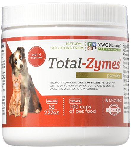 """NEW SIZE "" Total-Zymes Now With 16 enzymes! Digestive Enzyme Powder for Pets. Treats 100 cups of food. For Dogs and Cats"