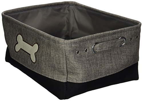 - Winifred & Lily Pet Toy and Accessory Storage Bin, Organizer Storage Basket for Pet Toys, Blankets, Leashes and Food in Embroidered Dog Bone, Grey/Black