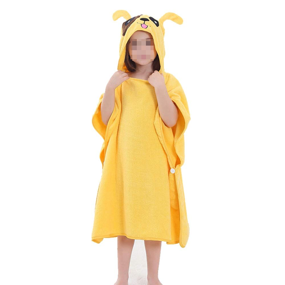Feeryou Children's Cute Bath Towel Outdoor Towel Cloak Towel Fast Water Absorption Fit Skin Suitable for Children/Youth Super Strong (Color : Yellow)