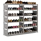 UDEAR Shoe Rack Double Row Portable Shoe Tower Storage Cabinet Organizer with Boots Shelf Grey