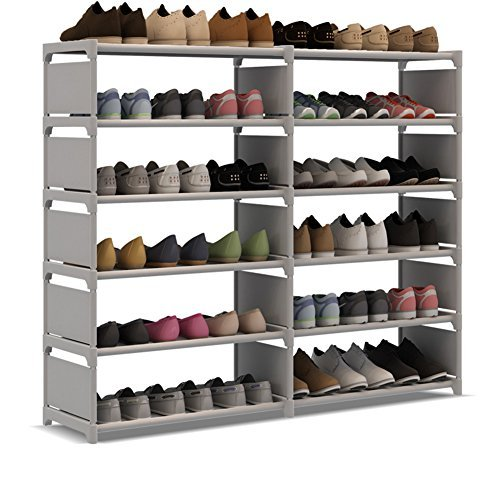 UDEAR Shoe Rack Double Row Portable Shoe Tower Storage Cabinet Organizer with Boots Shelf Grey by UDEAR