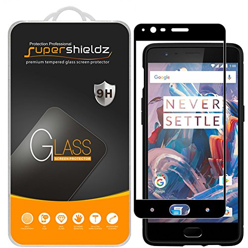 Price comparison product image [2-Pack] Supershieldz for OnePlus 3/OnePlus 3T Tempered Glass Screen Protector, [Full Screen Coverage] Anti-Scratch, Bubble Free, Lifetime Replacement Warranty (Black)
